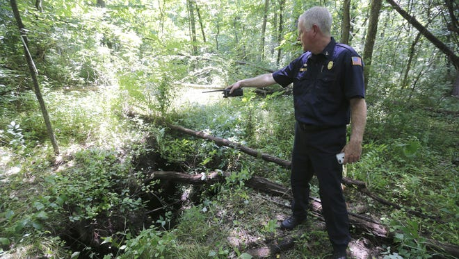 """David Carter of the Springfield Fire Department points to the sinkhole that Cornelia """"Corrie""""Brouwer fell in."""