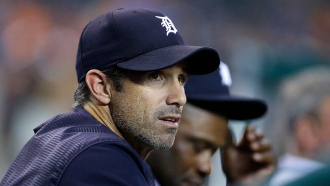 Tigers manager Brad Ausmus watches from the dugout in the third inning against the Twins at Comerica Park on Sept. 22, 2017.