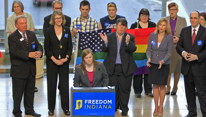 Megan Robertson, Freedom Indiana campaign manager, speaks Aug. 21, 2013, at an event to launch a campaign that opposes adding a prohibition on same-sex marriage to the Indiana Constitution.