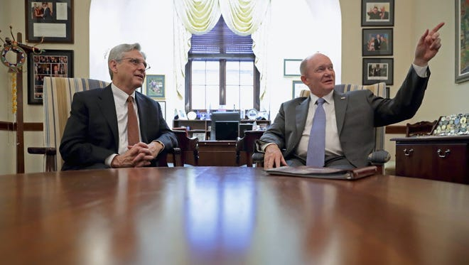 Supreme Court nominee Merrick Garland meets with Sen. Chris Coons, D-Del., in Coons' office in the Russell Senate Office Building on Capitol Hill on April 7, 2016, in Washington.