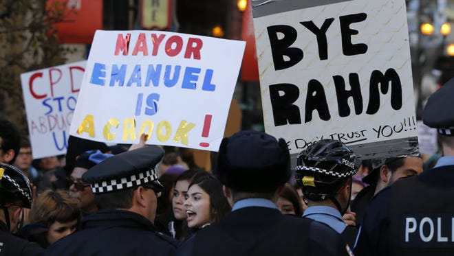 A Rahm Emanuel protest in Chicago in 2015.