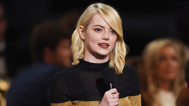 Actor Emma Stone speaks onstage during American Film Institute's 45th Life Achievement Award Gala Tribute to Diane Keaton at Dolby Theatre on June 8, 2017 in Hollywood, California. 26658_007  (Photo by Kevin Winter/Getty Images)