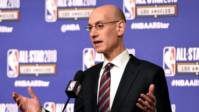 NBA commissioner Adam Silver speaks to the media during All-Star basketball game festivities, Saturday, Feb. 17, 2018, in Los Angeles.