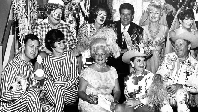 Desert Circus costume party, Hugh O'Brien, Barbara Marx (Sinatra) and Polly Bergen (center row) Gretchen and Waltah Clark (front row) c. 1975.