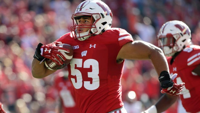 Wisconsin linebacker T.J. Edwards runs 54 yards for a touchdown after intercepting a pass against Maryland at Camp Randall Stadium last season.