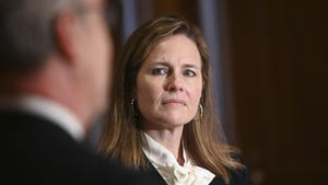 Judge Amy Coney Barrett, U.S. President Donald Trump's nominee to the Supreme Court, meets with U.S. Senator Kevin Cramer (R-ND) on Capitol Hill.