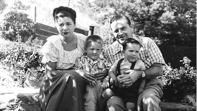 The Slatkin family circa 1950: Cellist Eleanor Aller with her husband, violinist Felix Slatkin  and their two musician sons, conductor Leonard Slatkin (left) and cellist Frederick Zlotkin.