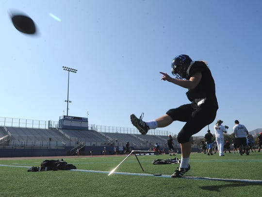 Taylin Butterbaugh blasts a kick during the Buena High