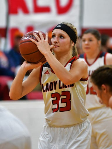 Roby's Hallie rose Edmondson lines up a free throw