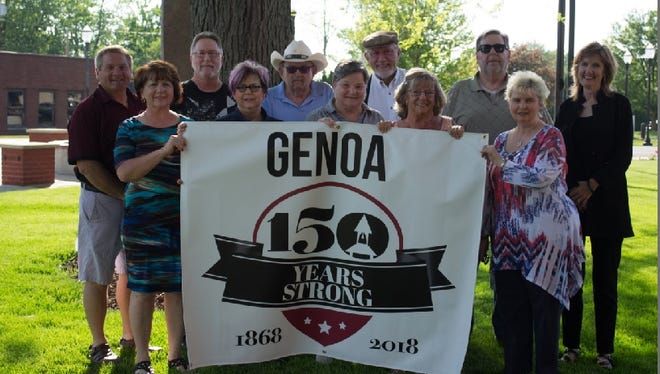 Genoa Sesquicentennial Committee Members have two days of events planned for the event. Shown here are, back row, left to right: Mayor Ken Harsanje, Bill Welch, Ron Rollins, Lou Hebert, Tom Fredericks, and Jan Pugh. Front row, left to right: Kim Harsanje, Rebecca Booth, Sue Bilbrey, Helen Prahl, and Mary Ann Cashen.