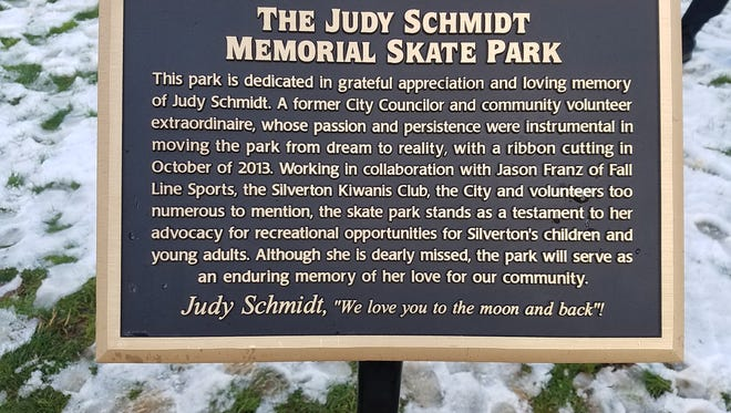 A plaque at the skate park.