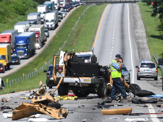 A 28-year-old woman was killed and her husband was injured Wednesday in a multi-vehicle crash on Interstate 85 in Oconee County near the South Carolina-Georgia border on July 5.