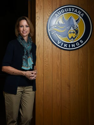 Augustana University President Stephanie Herseth Sandlin poses for a portrait in her office. Appointed in February, Sandlin previously worked as an executive for Raven Industries and served in the U.S. House of Representatives from 2004-2011.