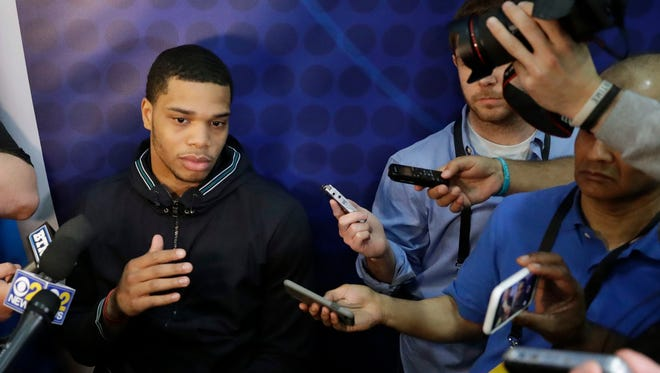 Michigan State forward Miles Bridges talks to reporters during the NBA draft combine Thursday, May 17, 2018, in Chicago.