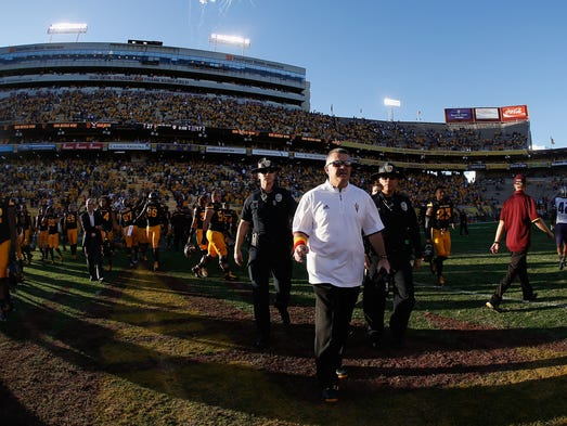 From his Arizona State office, coach Todd Graham can