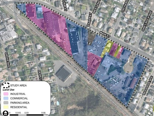 Plans show the types of properties currently existing in the redevelopment area.