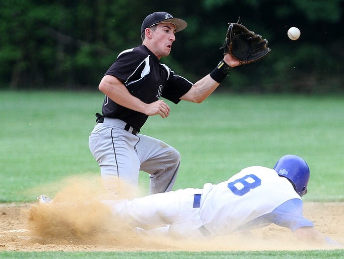 Westfield's Anthony Perconte safely steals second base while Bridgewater-Raritan second baseman Josh Robbins awaits the throw during the NJSIAA North 2 Group IV semifinal, Tuesday, May 27, 2014, in Westfield, NJ.
