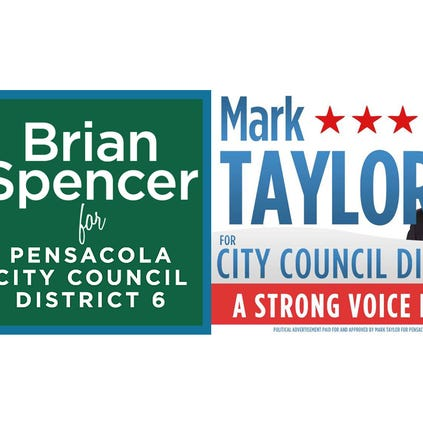 Brian Spencer and Mark Taylor campaign signs.