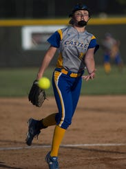 Castle's Sydney Wilson delivers a pitch to a Gibson Southern batter during their 4A sectional championship game last season.