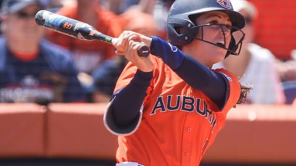 Auburn outfielder Tiffany Howard hit a grand slam home run in a 14-2 win over Jacksonville State in the NCAA Auburn Regional final on May 22, 2016.