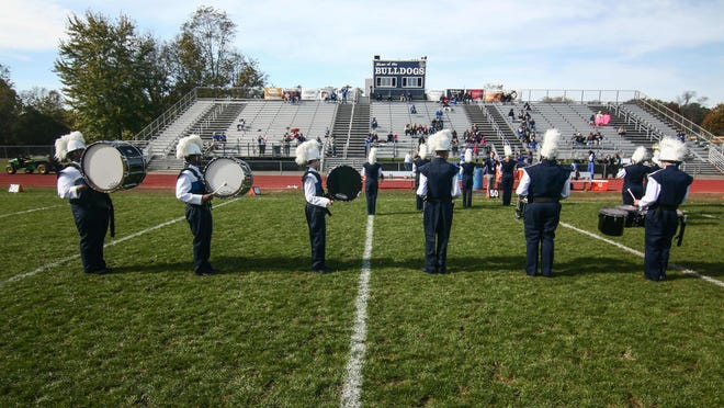 The Brandywine marching band performs at halftime of the Brandywine-St. Georges football game Oct. 29.