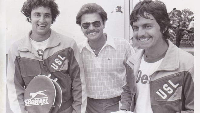 Former Ragin' Cajuns tennis coach Jerry Simmons, shown here with 1978 doubles champions James Boustany, left, and Gus Orellana, will be inducted into the Louisiana Sports Hall of Fame on Saturday, June 30 in Natchitoches.