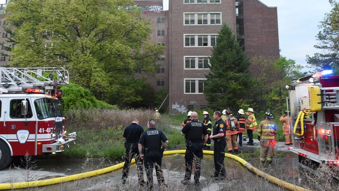Firefighters at the former Hudson Valley Psychiatric Center on Wednesday.  A fire was reported Wednesday evening and multiple local fire departments responded.