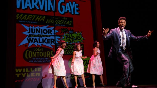 """Jarran Muse as Marvin Gaye and the cast of the touring production of """"Motown: The Musical."""""""