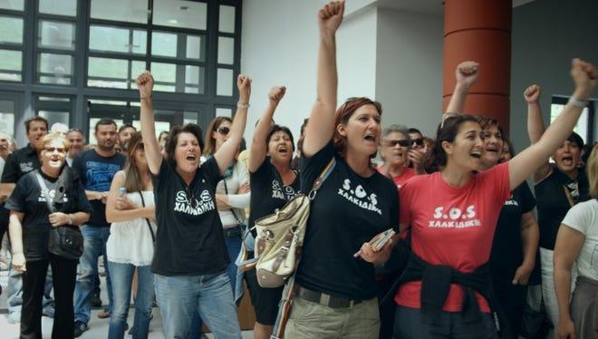 Protesters speak up against a gold mine in Halkidiki, Greece.
