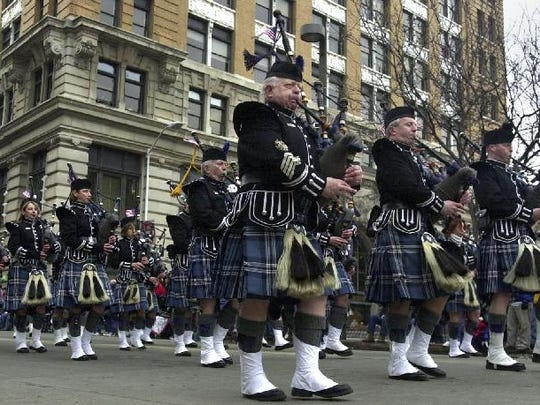 -  - The Broome County Celtic Pipe and Drums march in the annual St. Patrick's Day Parade in Binghamton on Saturday.