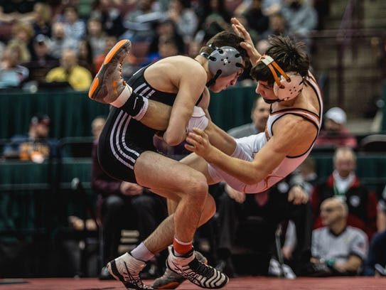 Genoa's Dylan D'Emilio earned his second consecutive state championship, this time at 113 pounds.