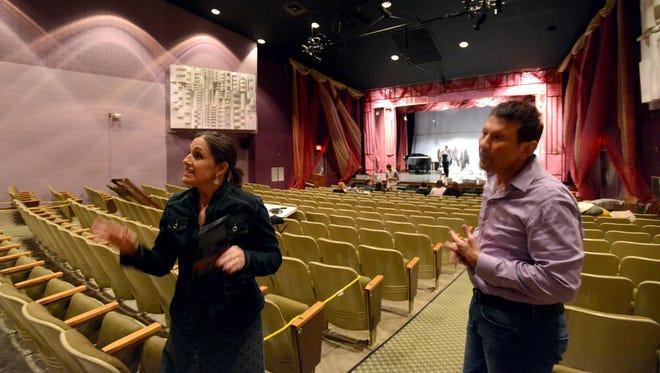 Ohio University Lancaster Development Director Mandi Custer, left, and Artistic Director Victor Jones talk about the improvements needed in the school's theater.