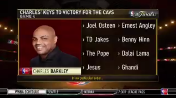 Charles Barkley's NBA Finals 'keys to victory for the Cavs' include Jesus, the Pope and Gandhi