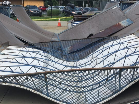 Damaged ramps lay stacked on each other at the City of Poughkeepsie skate park on Saturday, Aug. 6. A local group held a fundraiser to raise money for repairs.