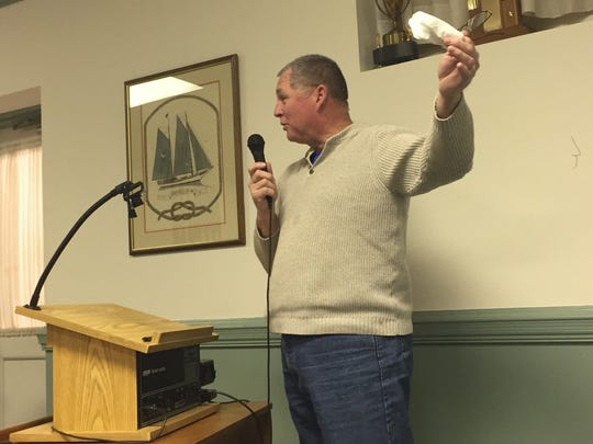 T. C. Haines speaks during a public hearing at the Onancock Town Council meeting on Monday, March 26, 2018 in Onancock, Virginia.