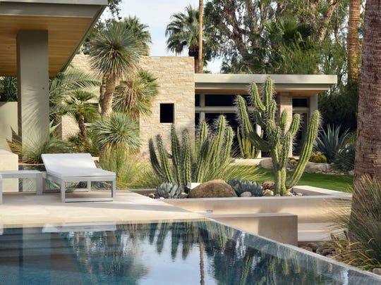 Design for desert modern landscapes by Martino are plant oriented with large powerful specimens that define space without enclosing it.