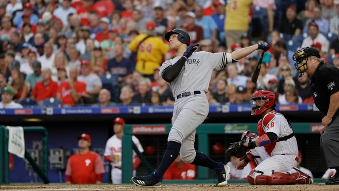 Yankees' slugger Aaron Judge connects for a home run against the Phillies on Monday night. He has 20 home runs this season.