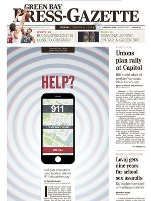 The front page of the Green Bay Press-Gazette with the Gannett 911 investigation as cover story.