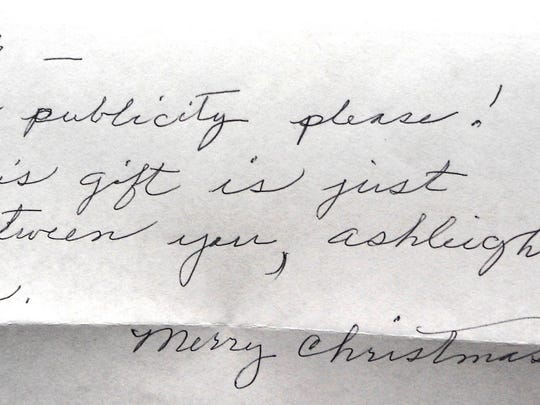 This unsigned note came with the $25,000 check wishing