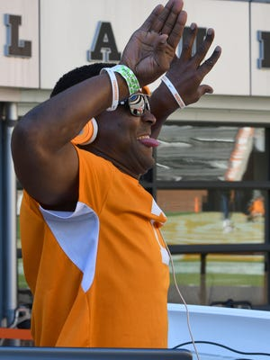 DJ Sterling Henton pumps up the players before the Tennessee vs. Tennessee Tech game in Neyland Stadium on Saturday, Nov. 5, 2016, in Knoxville.