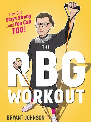 This illustration provided by Houghton Mifflin Harcourt Publishing Company shows the cover of a workout book co-authored by Supreme Court Justice Ruth Bader Ginsburg's long-time trainer Bryant Johnson.