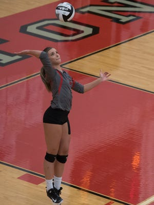 Piketon's Jordan Morris serves during this past Monday's win over Valley. Morris, in two matches, has racked up 33 kills.
