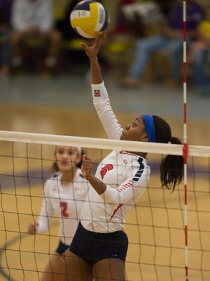 The high school volleyball match between Fort Pierce Central and St. Lucie West Centennial at Fort Pierce Central on Thursday, October 5, 2017 in Fort Pierce.
