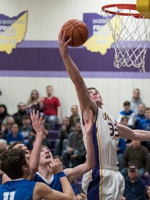 Unioto's Gabe Fisher collects one of his game-high 18 rebounds in Monday's 58-41 win over Southeastern.