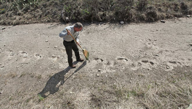 Park Ranger Pat Bales sweeps debris out of the pre-dinosaur tracks at the San Angelo State Park.