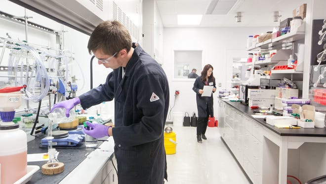A researcher works at the chemistry lab at Incyte in Wilmington.