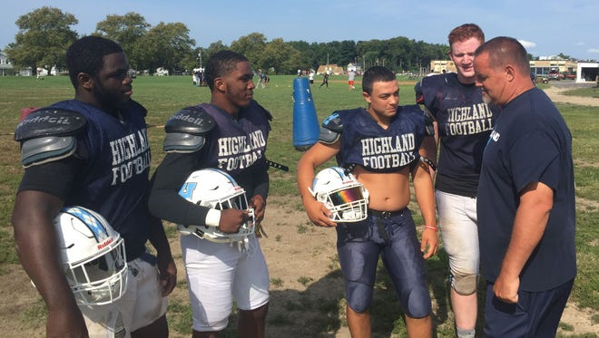 Highland's Devon Starks (from left to right), Naiem Furlow, Jerad Colbert and Liam Flite will provide senior leadership for coach Brian Leary this  season.