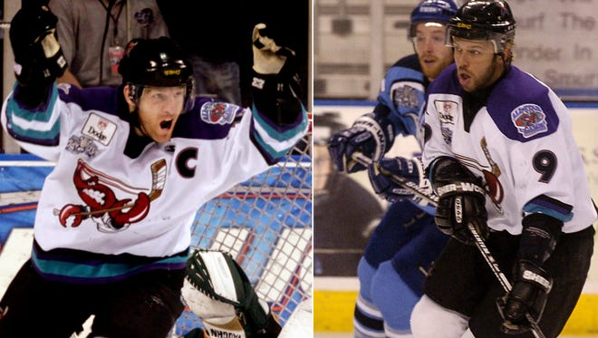 Dan Wildfong (left) and Karlis Zirnis were teammates with the Mudbugs. Now head coaches, their teams square off beginning Friday on George's Pond in the NAHL South Division Final.