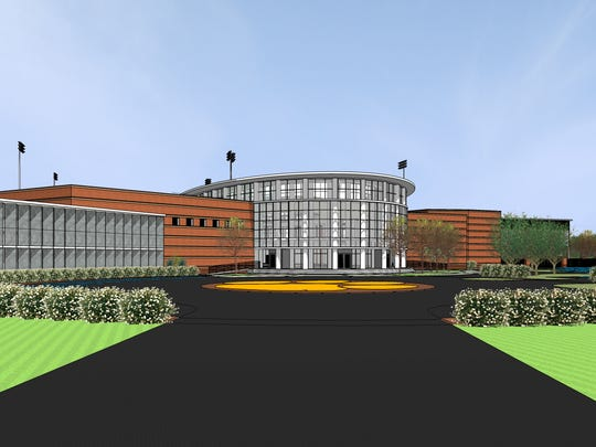 A preliminary rendering of the Clemson football operations center planned near the indoor football practice facility.