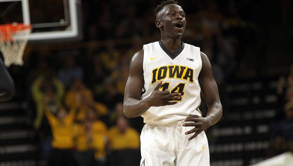 Iowa's Peter Jok celebrates a first-half 3-pointer